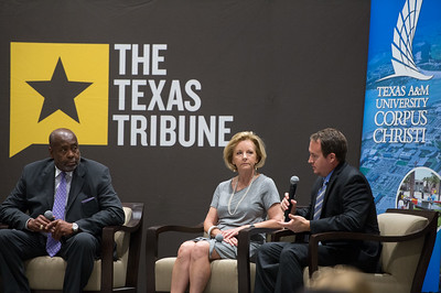 John Hall(left) Geanie Morrison and Mike Wetz During the panelists discussion on the environment over the next five years. Monday September 28, 2015 at the Texas Tribune Event held at TAMU-CC