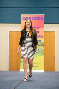 Amber Otholt models clothing suggested to wear at a professional job setting. During the Get the Job Career Fair at TAMU-CC. Thursday October 01, 2015.