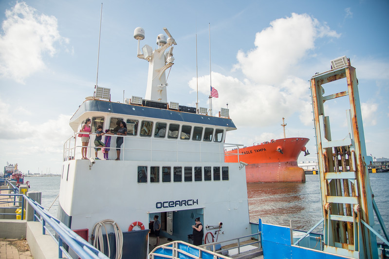 Guests on the Ocearch vessel on a tour. Monday October 12, 2015 in Corpus Christi.