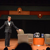 Bill Nye the Science Guy walks on stage at the beginning portion of his Distinguished Speaker Series presentation at the Performing Arts Center on Wednesday October 21, 2015.