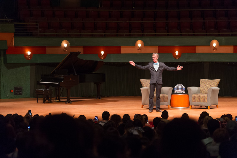 At the Student Forum, Bill Nye speaks of what he hopes to see in the future