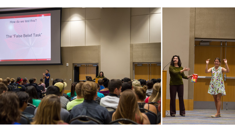 Professor Lisa Comparini uses a student volunteer to demonstrate the False Belief Task during her presentation at the Psychology and Sociology Fall 2015 Colloquium.