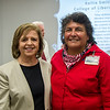 Dr. Mary Alice Fernandez (left) and Carmen Hernandez celebrate after Dr. Fernandez receives one of six Outstanding Online Educator awards during National Distance Education Week.