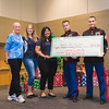 Kathy Killebrew, Haley Hooper, Jasmine Rodriguez, SGT Hudspeth and SGT Sammarcelli. During the check presented to the Toys for Tots Toy Drive raised during the TAMU-CC Islander Lights celebration.