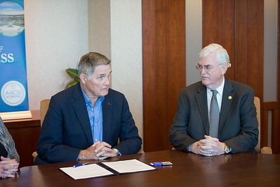 Fred Braselton and Flavius Killebrew during the Braselton Homes Endowed Scholarship in Entrepreneurship recognition signing. Monday November 23, 2015 at Texas A&M Corpus Christi - University.
