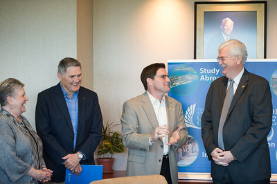 Vanessa Braselton(left) Fred Braselton, Bart Braselton and Flavius Killebrew during the Braselton Homes Endowed Scholarship in Entrepreneurship recognition signing. Monday November 23, 2015 at Texas A&M Corpus Christi - University.