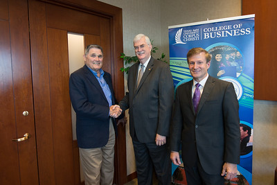 Fred Braselton(left) TAMU-CC president and CEO Dr. Flavius Killebrew and Dean of the College of Business John Gamble.
