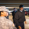 Edencille Urbina(left) greets LTG Larry Wyche during his visit to the TAMU-CC campus.