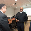 LTG Larry Wyche(center) speaks to Dr. Ahmed Mahdy and Dr. LD Chen during his tour of the campus.