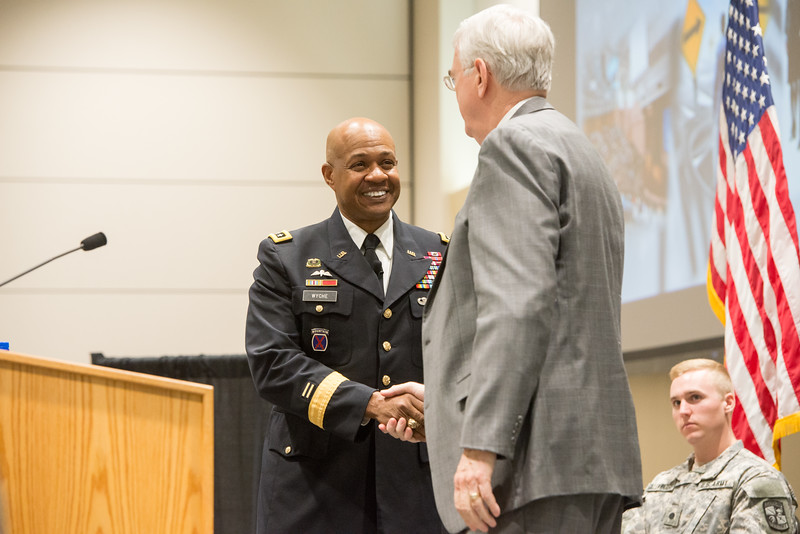 LTG Larry Wyche and Dr. Flavius Killebrew moments after LTG Wyche's presentation at the TAMU-CC campus.