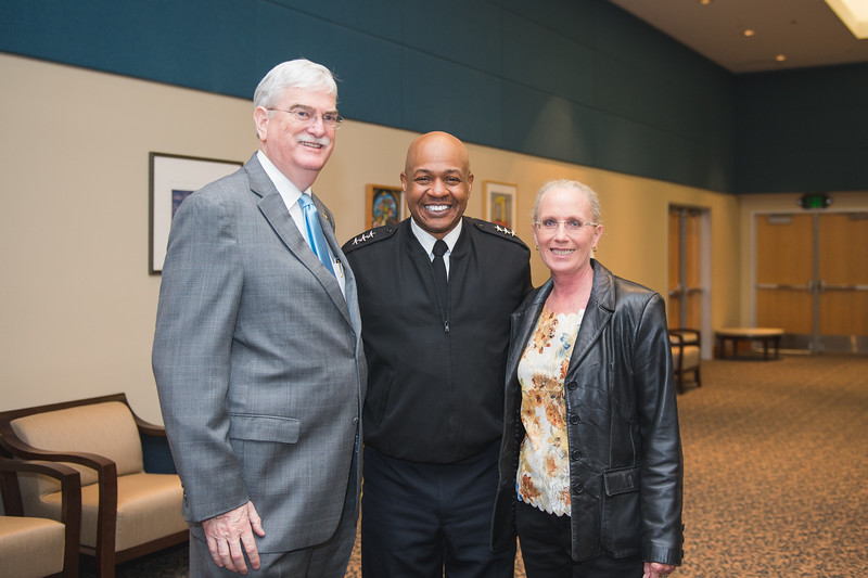 Dr. Flavius Kilebrew(left) LTG Larry Wyche and Kathy Killebrew. During LTG Wyche's tour of the campus.