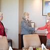 Dr Eve Layman greets Dr. Kelly Quintanilla at the  Layman Professorship Signing Luncheon in TAMU-CC. Wednesday December 16, 2015.