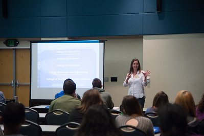 Jennifer Arnold explaining the options for careers at Tamucc.