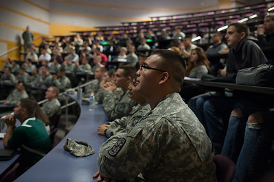 John Ramirez gathering information during the ROTC Islander Warrior Day.