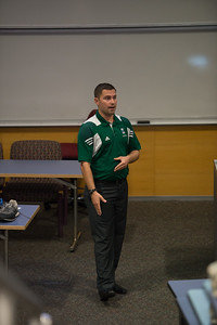 Cody Knight showing proper running technique during the ROTC Islander Warrior Day.