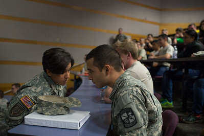 Frances Maldonado(left) having a conversation with Randy Treviño during the ROTC Islander Warrior Day.