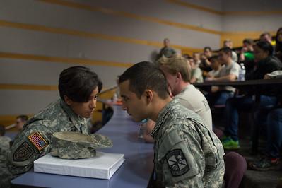 Frances Maldonado(left) having a conversation with Randy Treviño during the ROTC Islander Warrior Day.