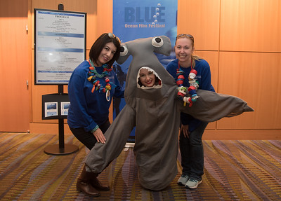 Lisa T. Wunderlich, Kate Lavelle, and Melissa Rohal answering questions for people attending the Blue On Tour event at the American Bank Center.