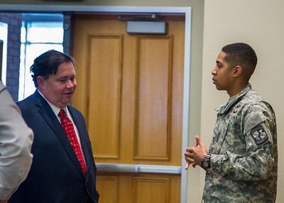Student Tyris Foster asks Congressman Blake Farenthold questions at the ROTC Cadet Forum.