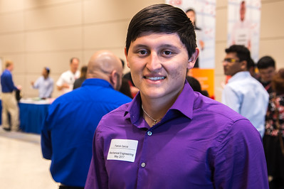 Student Patrick Garcia attends the Science and Engineering career fair.