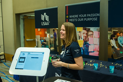 Lindsey Waldhelm representing USAA during the Science and Engineering internship and career fair