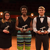 Leah Guerra (left), Akeelah Scott, and Justin O'Neal with their awards.