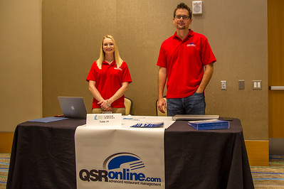 Bralynn Bell and Alexis Hessltine representing QSR Online at the Business Career Fair