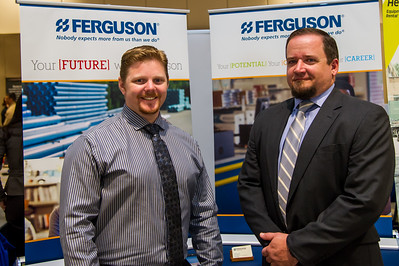 Bryan Steele and Adam Harrington representing the Ferguson booth at the Business Career Fair