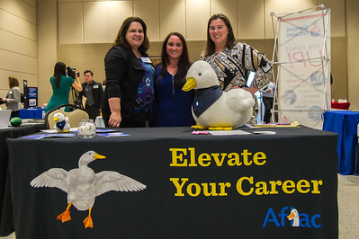 Suzanne McFarland, Stacy Rodgers, and Laurel Ann West representing Aflac at the Business Career Fair
