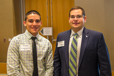 Student Ryan Rodriguez met with Dr. Andrew Johnson, assistent professor of management, during the Business Career Fair