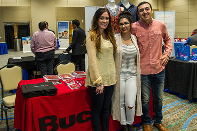 Amanda Balderre, Cheyenne Pallumus, and Robert Lopez representing Buckle at the Business Career Fair