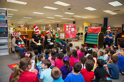 The kids singing happy birthday to Dr.Seuss.
