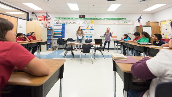 Kyra Hyman and Debra Manfredi speak to a class at Zavala Elementary