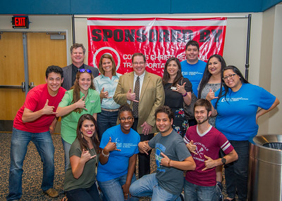 COMM Week faculty and COMM Club students pose for a photo with Keynote Speaker Dr. Mitchell McKinney.