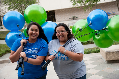 Island Ambassodors Becca-Lee Thomas(left) and Jasmine De Leon(right) Express their excitement for Island Day.
