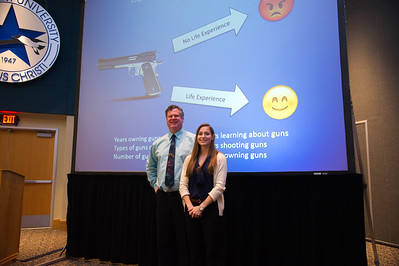 Graduate student Alora Korb with her Advisor after her 3 miute thesis