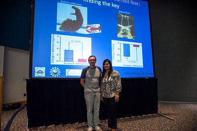 graduate student Ruma Chatteryn with her advisor after her presentation