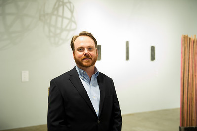 Artist Pual Seeman presents his work of art at the Weil Gallery