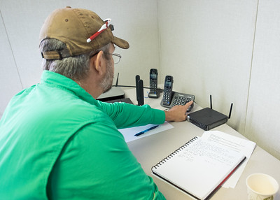 Dave Kennedy with the Lone Star UAS partakes in a conference call with NASA and UAS test sites across the United States. Sites included New York, Virginia, Texas, North Dakota, Nevada and Alaska. Tuesday April 19,2016 in Port Mansfield, Tx.