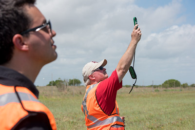 Maurice Griffin collects wind speed and gust data during  the Lone Star UAS flight in Port Mansfield.
