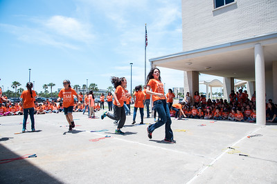 kids at the ECDC pep rally being active