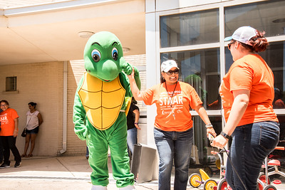 ECDC mascot, the sea turtle, at the pep rally