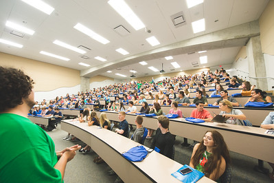 Future Islanders fill the lecture room for the kick off of the New Student Orientation. Monday June 13, 2016 in Bay Hall.
