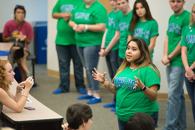 Taylor Rodriguez goes over the open question segment of new student orientation. Monday June 13, 2016 in Bay Hall.