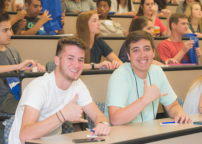 Jeremy L. and Robert Koehler show Islander spirit at the new student orientation. June 13, 2016 in Bay Hall.