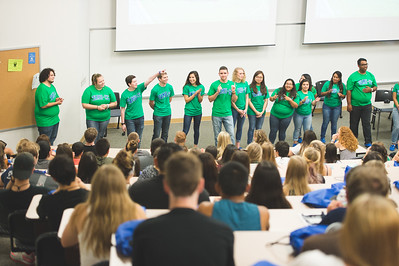 TAMU-CC orientation leaders introduce themselves at the new student orientation. Monday June 13, 2016 in Bay Hall.