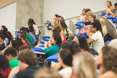 Students listen in as orientation leaders introduce themselves at the new student orientation. Monday June 13, 2016 in Bay Hall.
