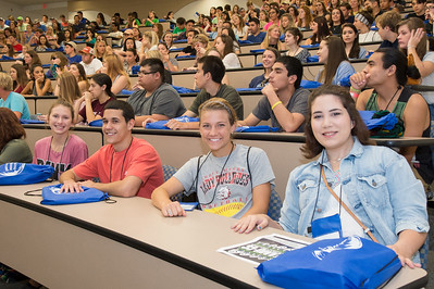 Cierah Lackey (left), JonMichael Arispe, Ashley Zamzow and Mala Rubiano post for a picture during the new student orientation. Monday June 13, 2016 in Bay Hall.