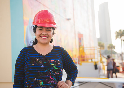 Sandra Gonzalez, TAMU-CC Alumn. Artist of the Corpus Christi Mural on the side of the Caller Times building.