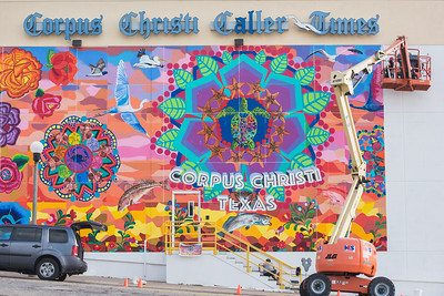 TAMU-CC Alumni Sandra Gonzalez sits at the top of the lift boom as she applies the final pieces of her mural. Thursday June 16, 2016.